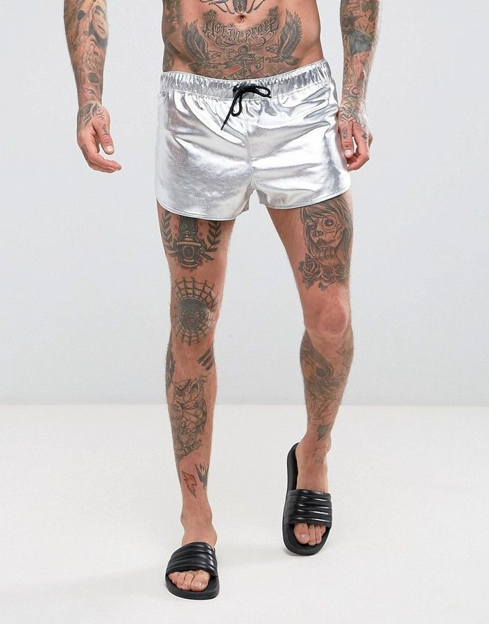 Asos Swim Shorts With Extreme Side Split In Silver Metallic In Super Short  Length