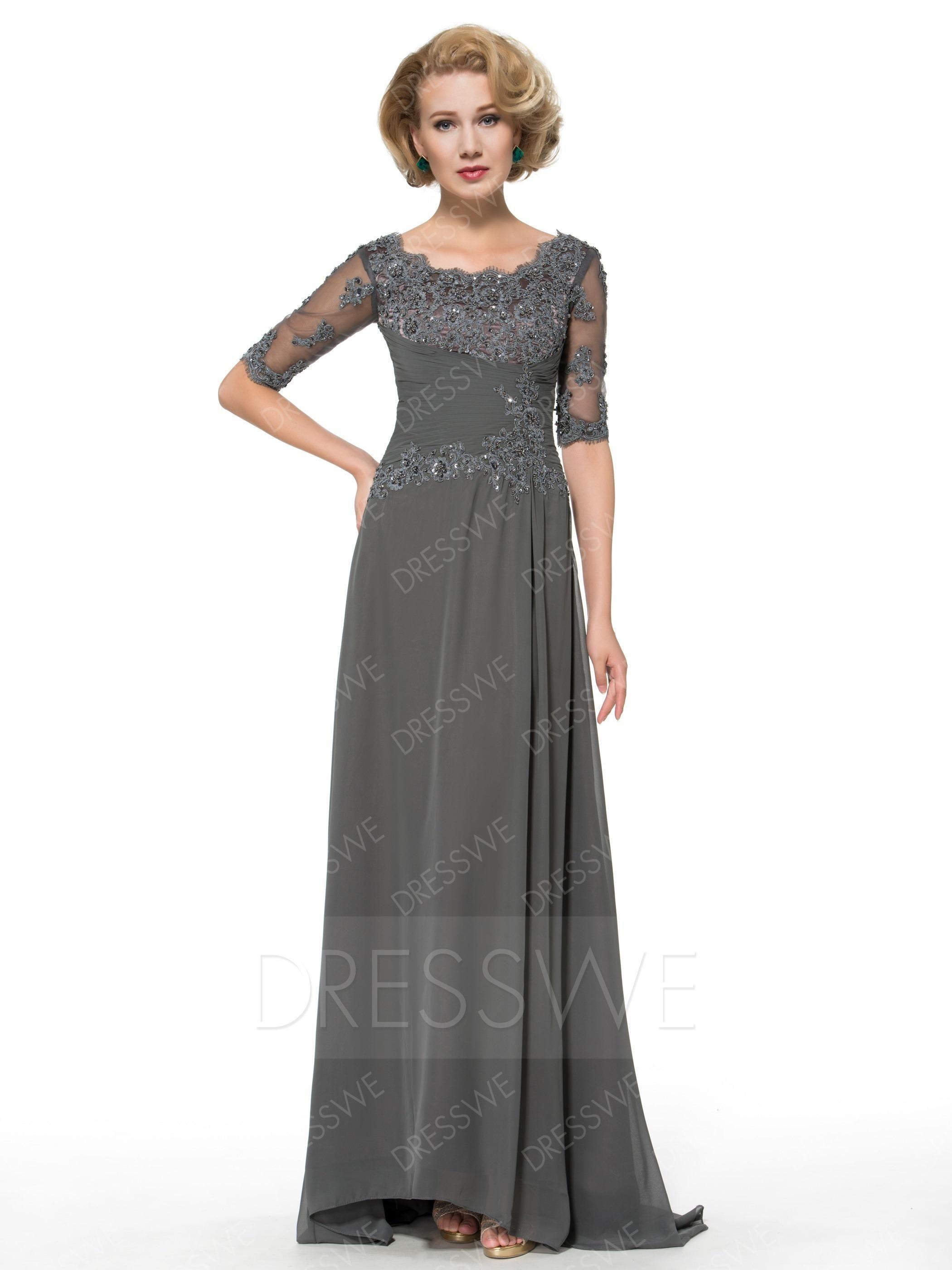 Dresswe dresswe lace beading midsleeves mother of the bride dress