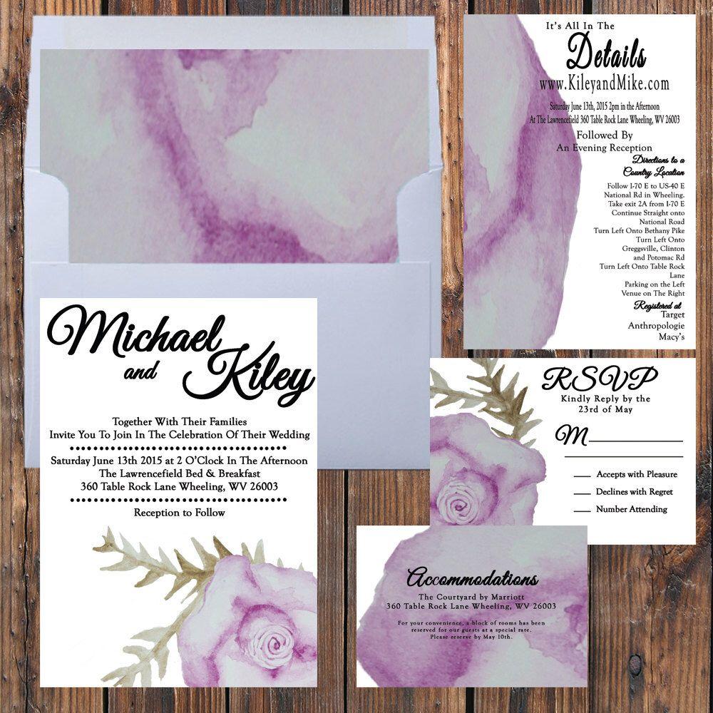 Printable Watercolor Wedding Invitation    Floral Wedding Invitation ...