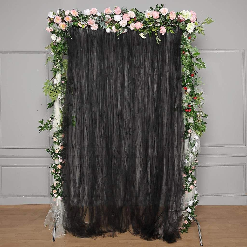 5 Ft X 10 Ft Double Sided Tulle Backdrop Sheer Curtain Panels With Satin Rod Pockets Black In 2020 Tulle Backdrop Tent Decorations Panel Curtains