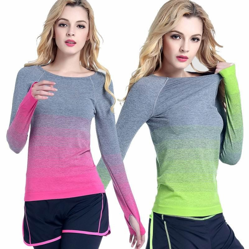 Women Long Sleeve Quick-dry Fitness Shirts Running Yoga Tops Shirts Workout GIFT