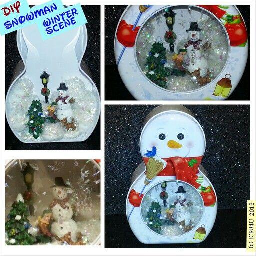 diy snowman winter scene shadow box christmas decor by icr84u 2013 diy snowmanrite aidshadow