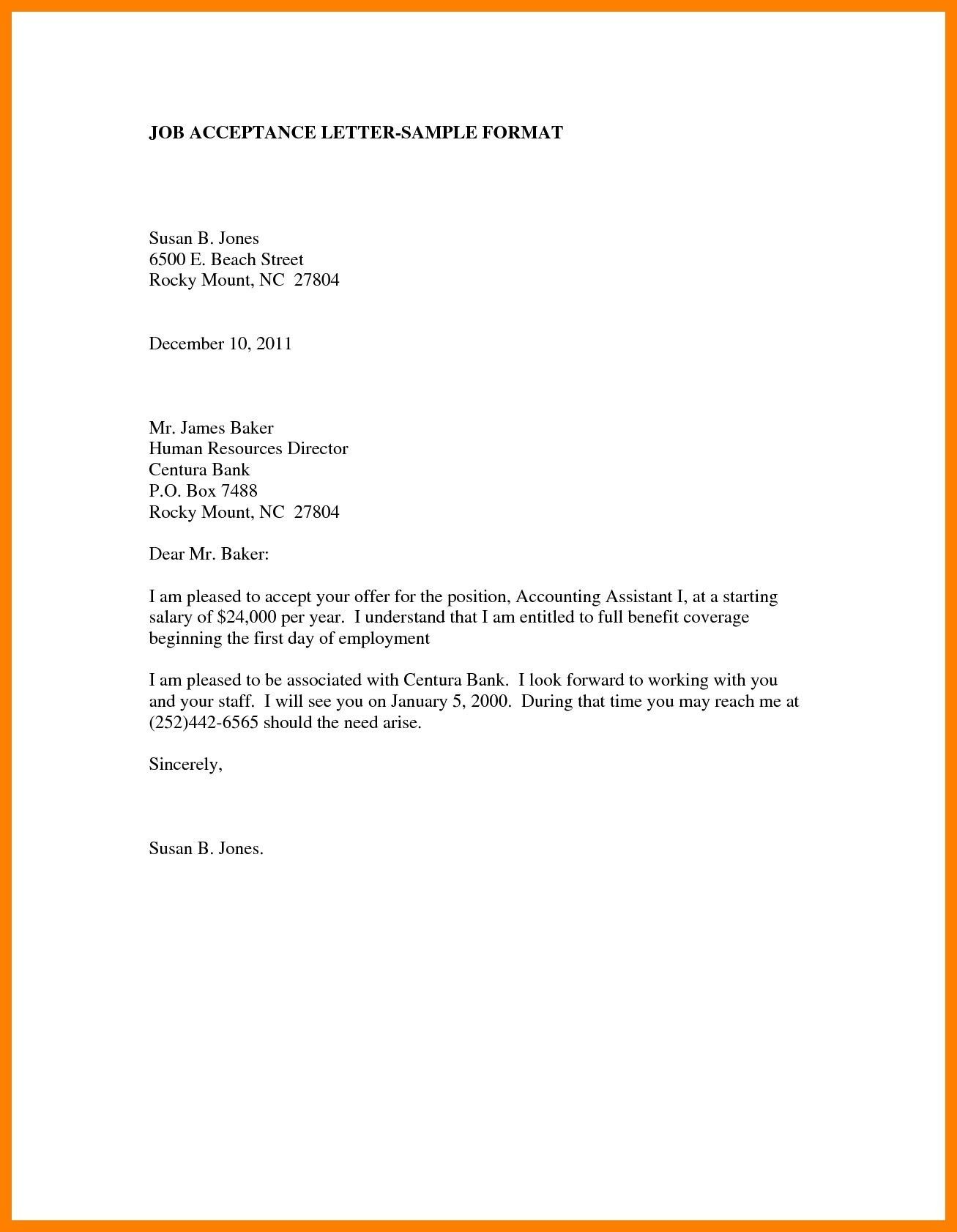 New Job Offer Acceptance Letter Example you can download for full