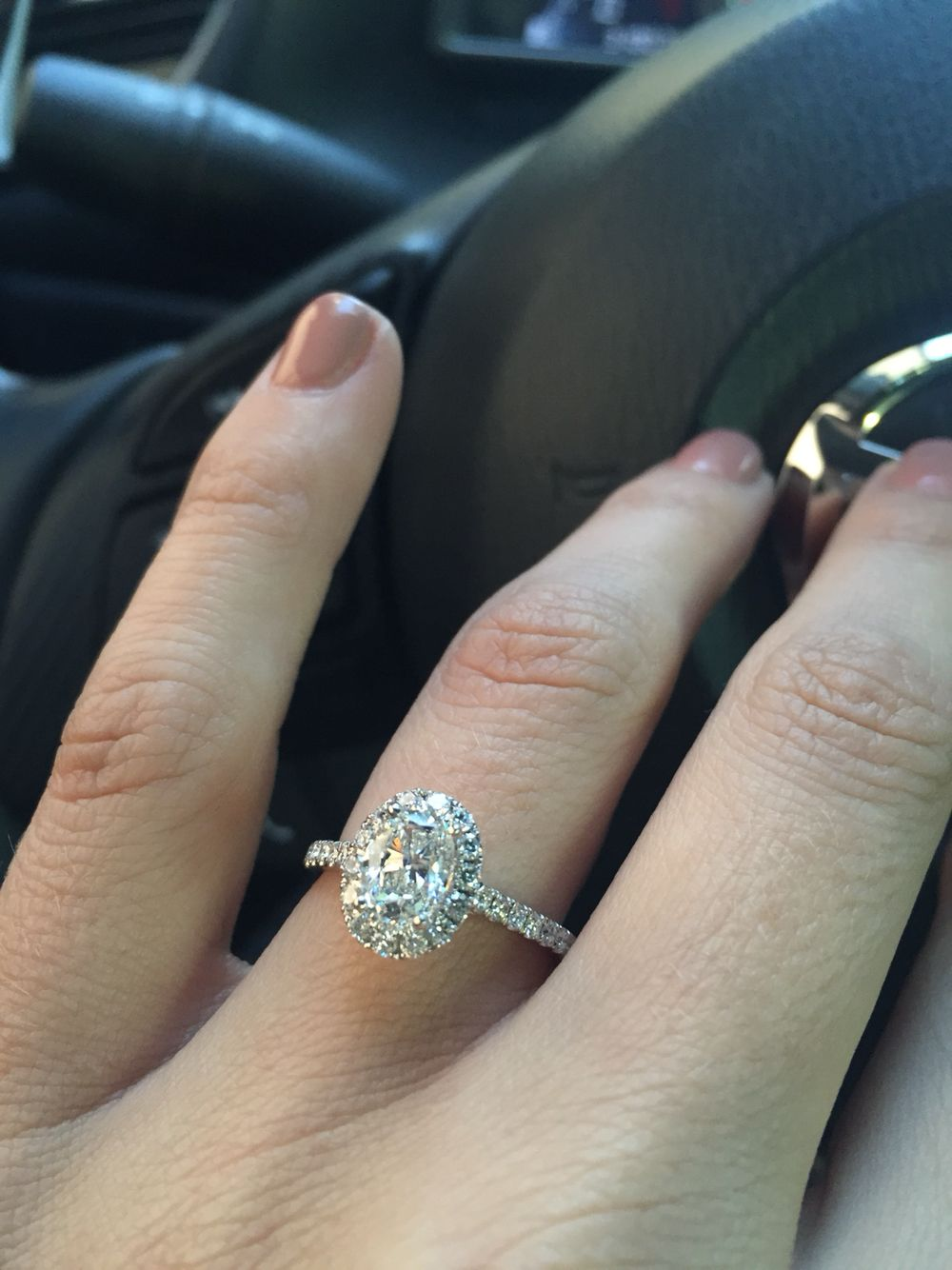 One Carat Oval Diamond Halo Ring From Leo Hamel Jewelers In San