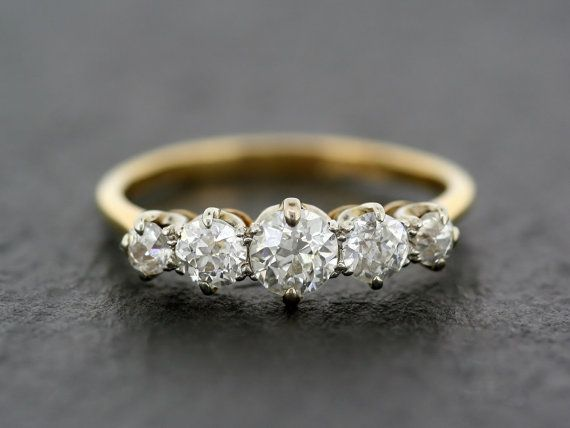 Antique Diamond Ring - Edwardian Five Stone Diamond Anniversary Ring - 18ct Gold Antique Ring
