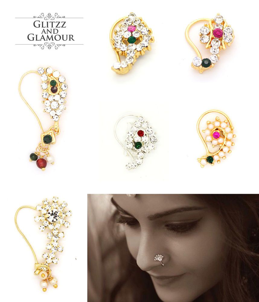 Indian Designer Nose Ring Antique Gold Nath Fake Clip On Nose Ear Women Jewelry