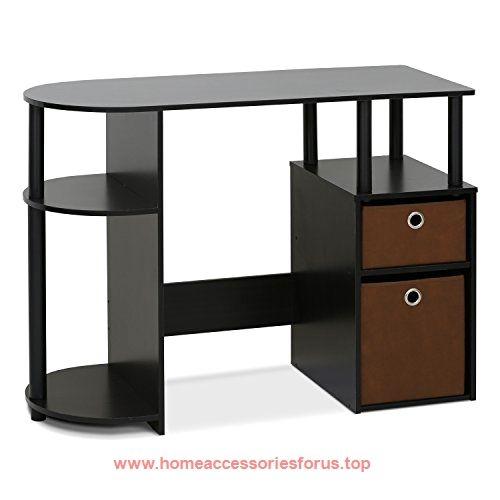 Furinno 15111exbkbr Jaya Simplistic Computer Study Desk With Bin Drawers Espresso Brown Now