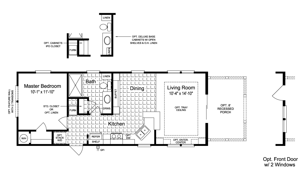 The Sunset Cottage I 16401B Floor Plan - 16' x 40' - 620 Sq