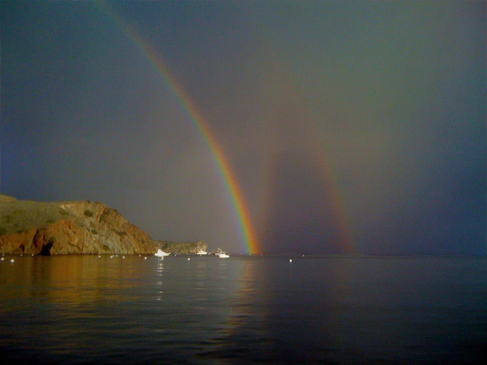 A very rare picture of a triple rainbow, Catalina Island, CA.