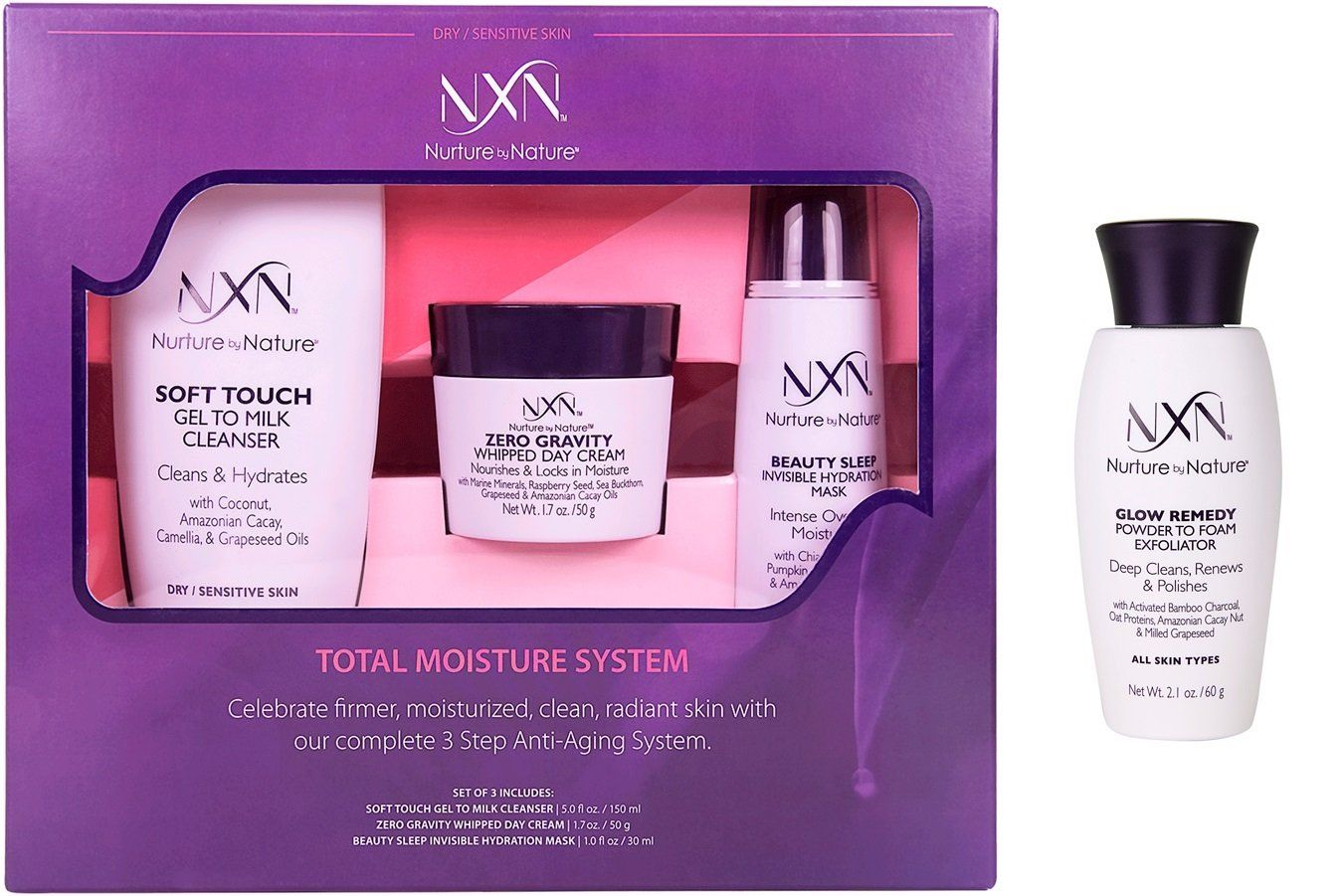 Nxn Total Moisture Antiaging Kit Natural And Organic 4piece Skin Care System For Dry Sensitive Skin Exfoliating Face Scrub Exfoliate Face Dry Sensitive Skin