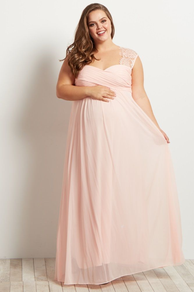 b663070cecb Pink Lace Accent Chiffon Maternity Plus Evening Gown