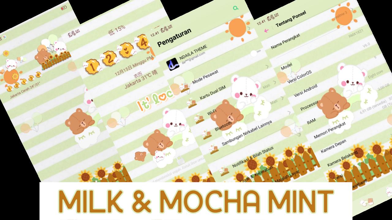 Tema OPPO Tembus Akar Mocha, Mint, Emoji