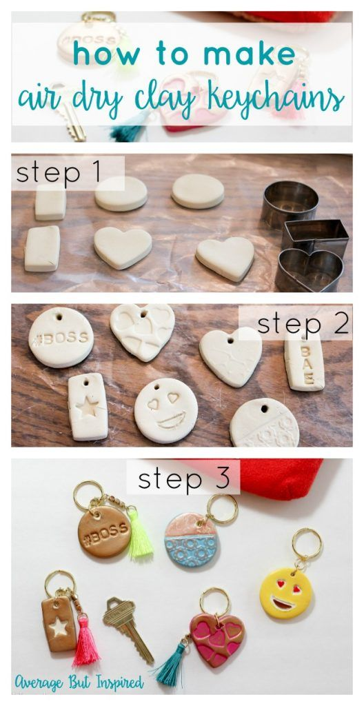 Air dry clay keychains are a super fun and easy project! Get the full  supply list and tutorial in this post! 1fccacaf09