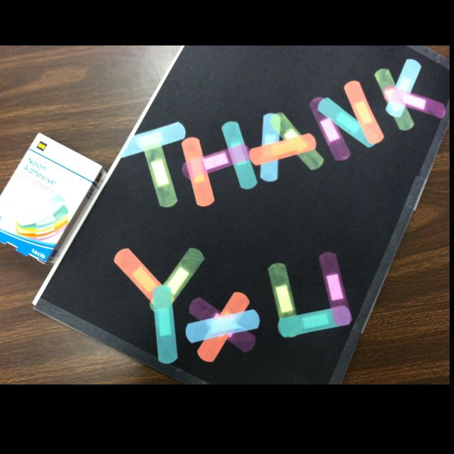 Thank You Card For School Nurse Appreciation Day Neon BandAids