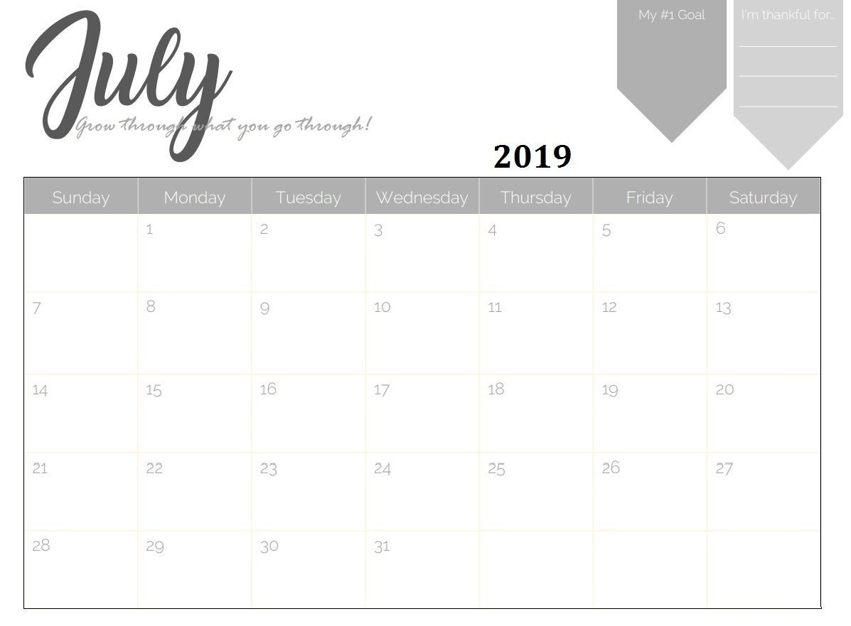 Printable July 2019 Desk Calendar Calendar 2018 Calendar Get Weekly Calendar Template Monthly Calendar Template Weekly Calendar Printable
