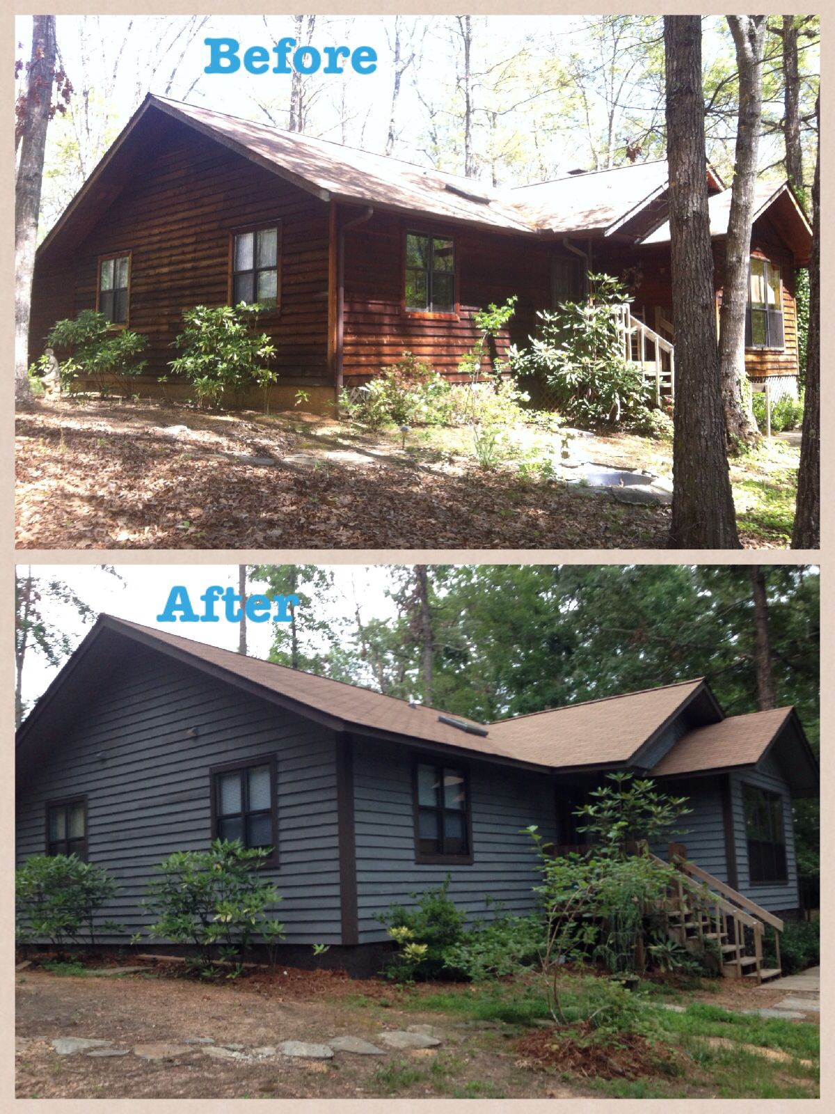 Our Cedar Siding Home With New Paint Stain Exterior Blue And