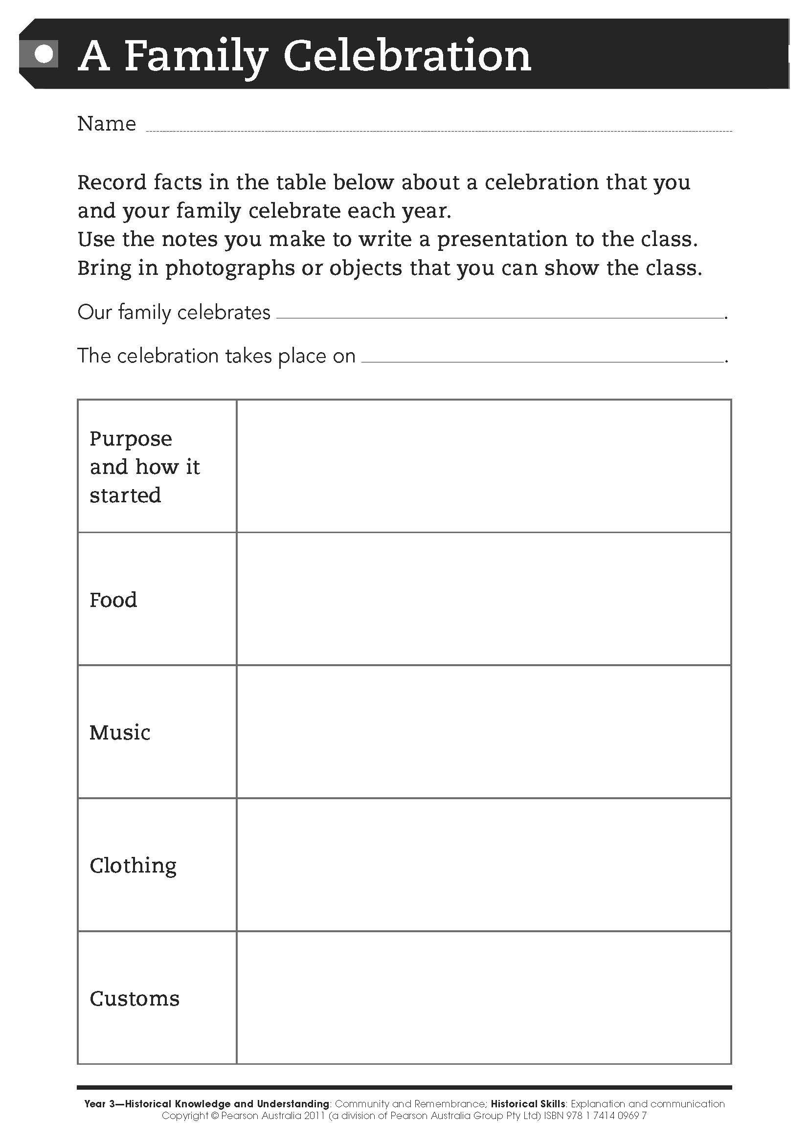 Free Worksheet A Family Celebration For Middle Primary Students This Worksheet Primary Students Family Celebrations Life Coaching Worksheets