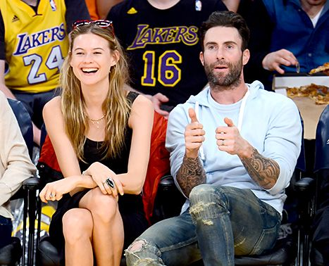 Courtside Couple Adam Behati Make Out For Kiss Cam At Lakers