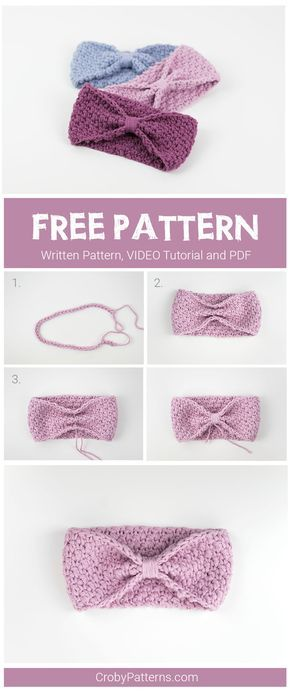 Simple and easy to make crochet headband for babies. Free pattern ...