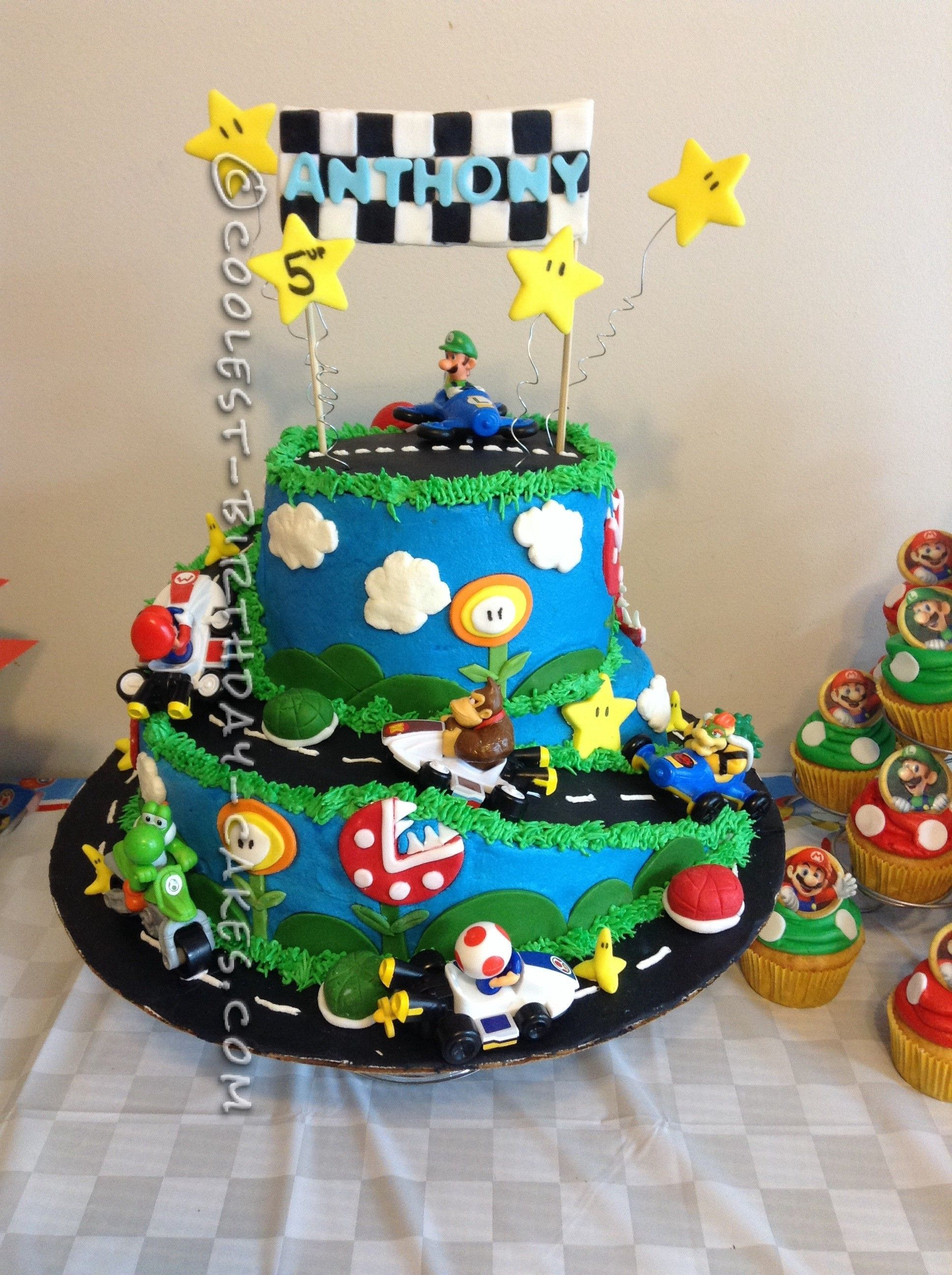 Coolest Mario Kart Wii Birthday Cake Childrens Cake Pinterest