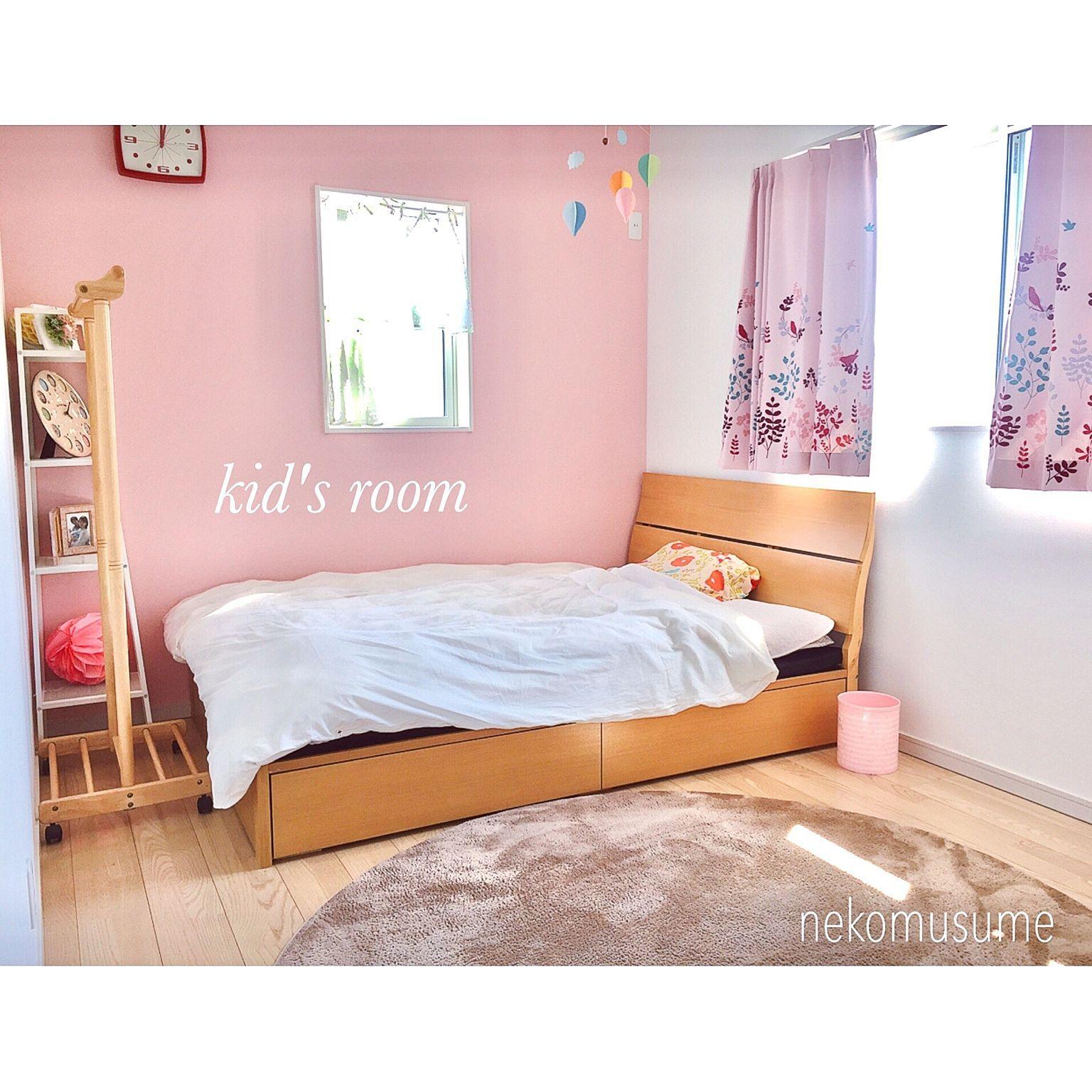 eebc9aeb222 子ども部屋/娘の部屋/ピンクの壁/ニトリのカーテン/ニトリのラグ/円形ラグ…などのインテリア実例 - 2017-03-10 12:25:54 |  RoomClip(ルームクリップ)