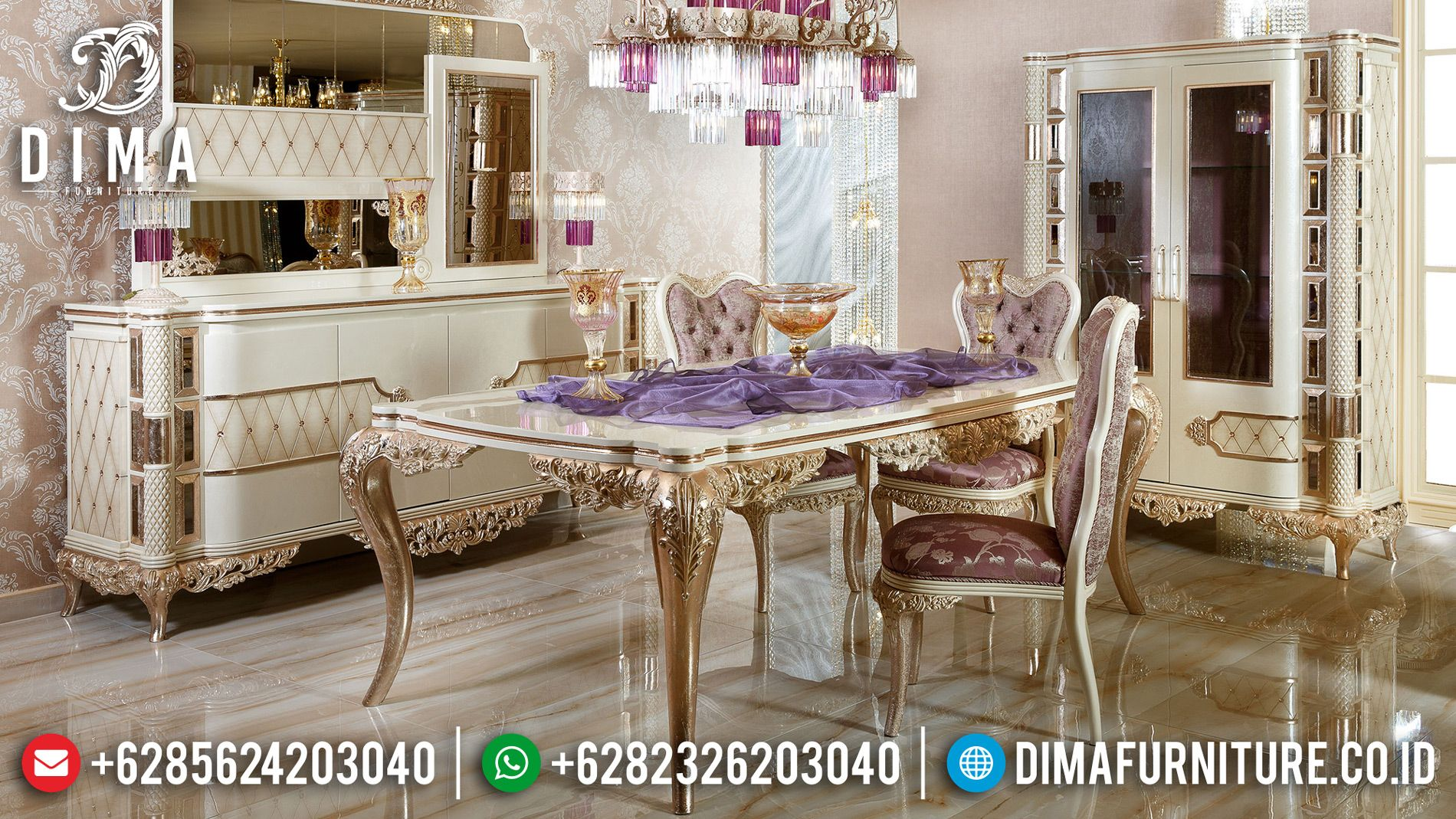 Meja Makan Ukiran Jepara Desain Cantik Warna Golden Leaf Glossy Best Quality Mmj 0637 Meja Makan Klasik Desain