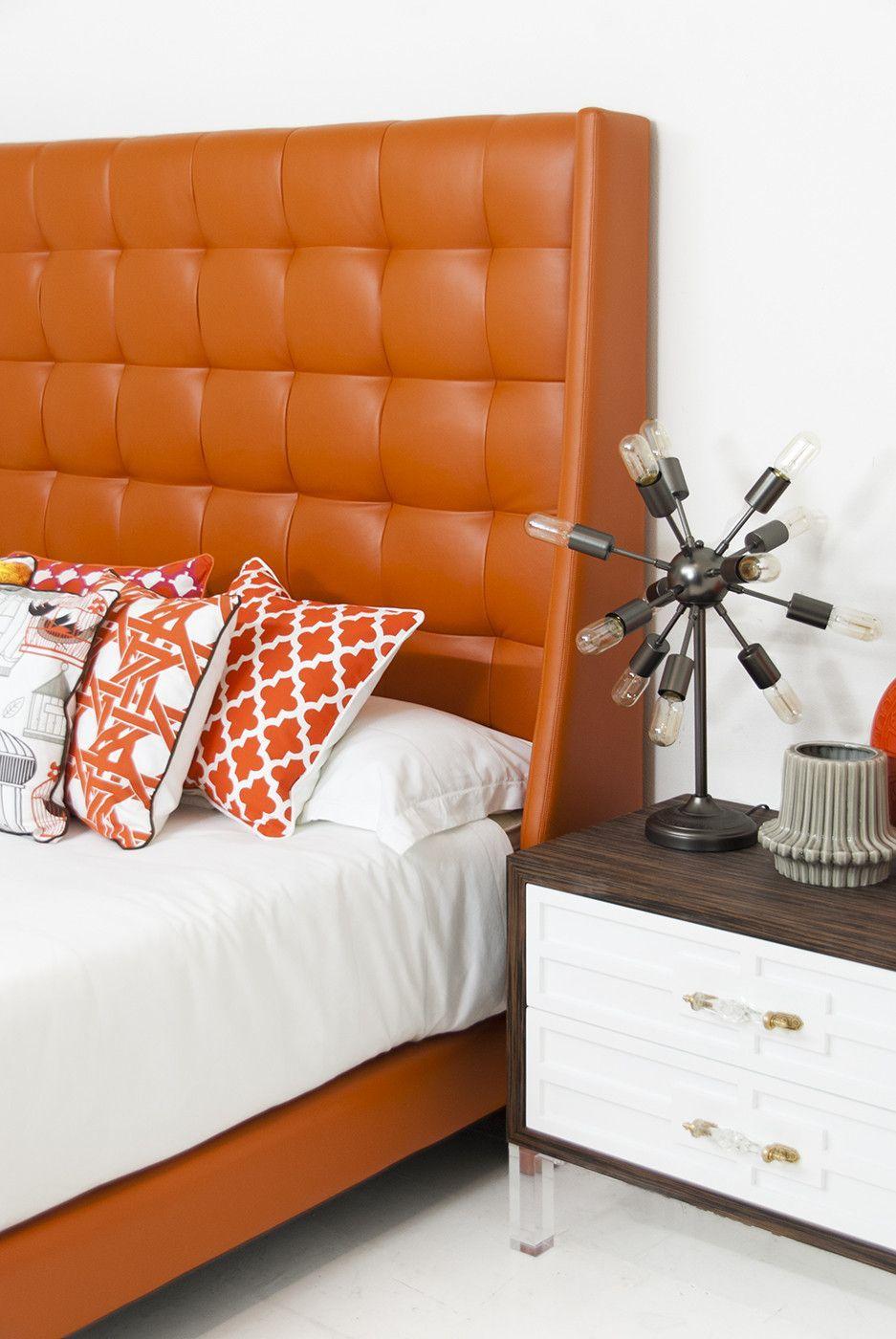 st tropez bed in hermes orange faux leather l. Black Bedroom Furniture Sets. Home Design Ideas