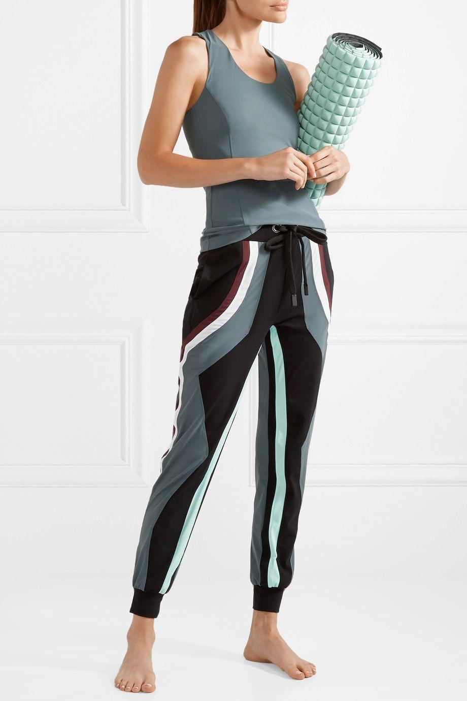 No Ka'Oi - Pana Color-block Stretch Track Pants - Gray green