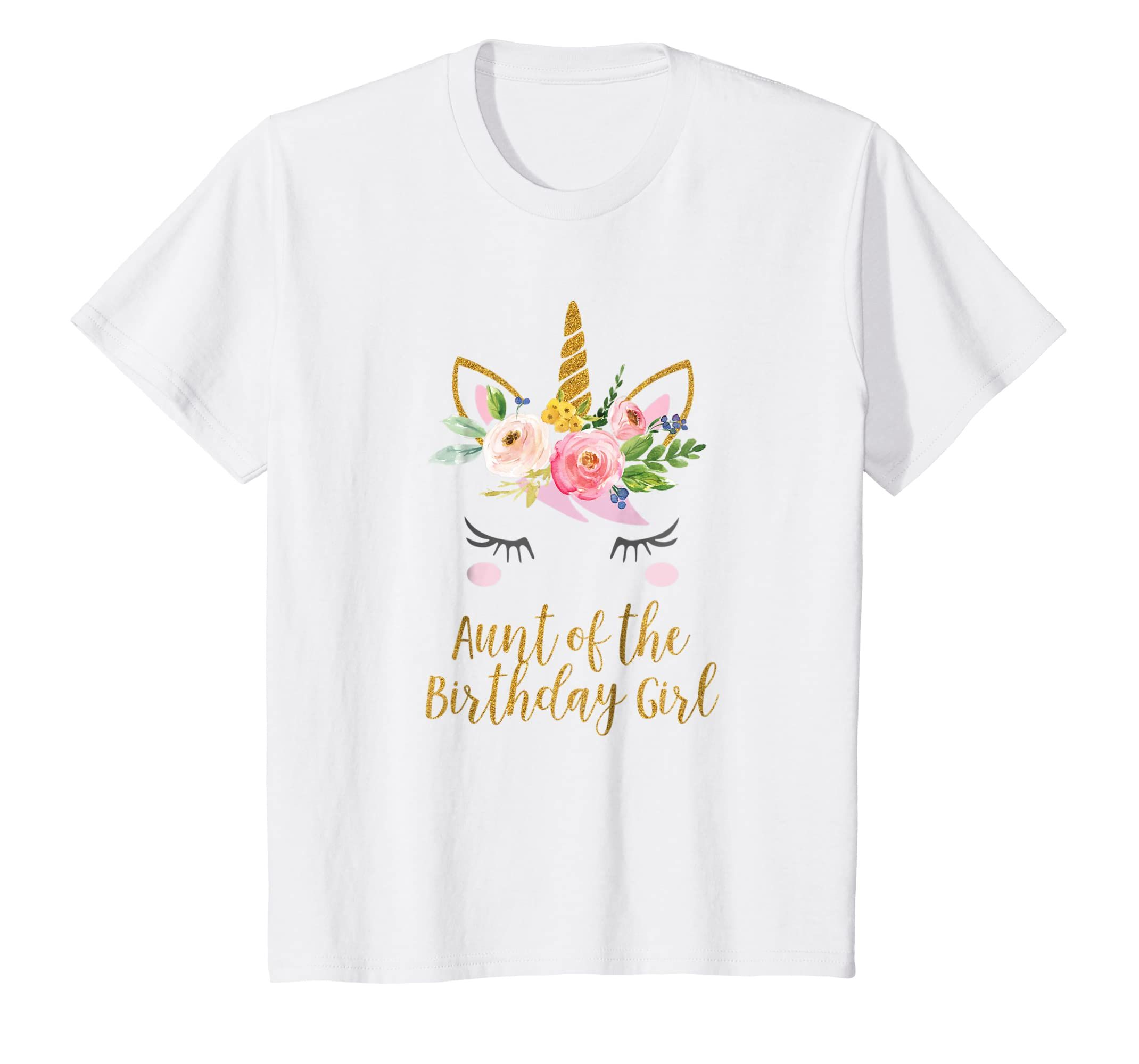 Aunt of the Birthday Girl Shirt, Unicorn Aunt Shirt-Teehay