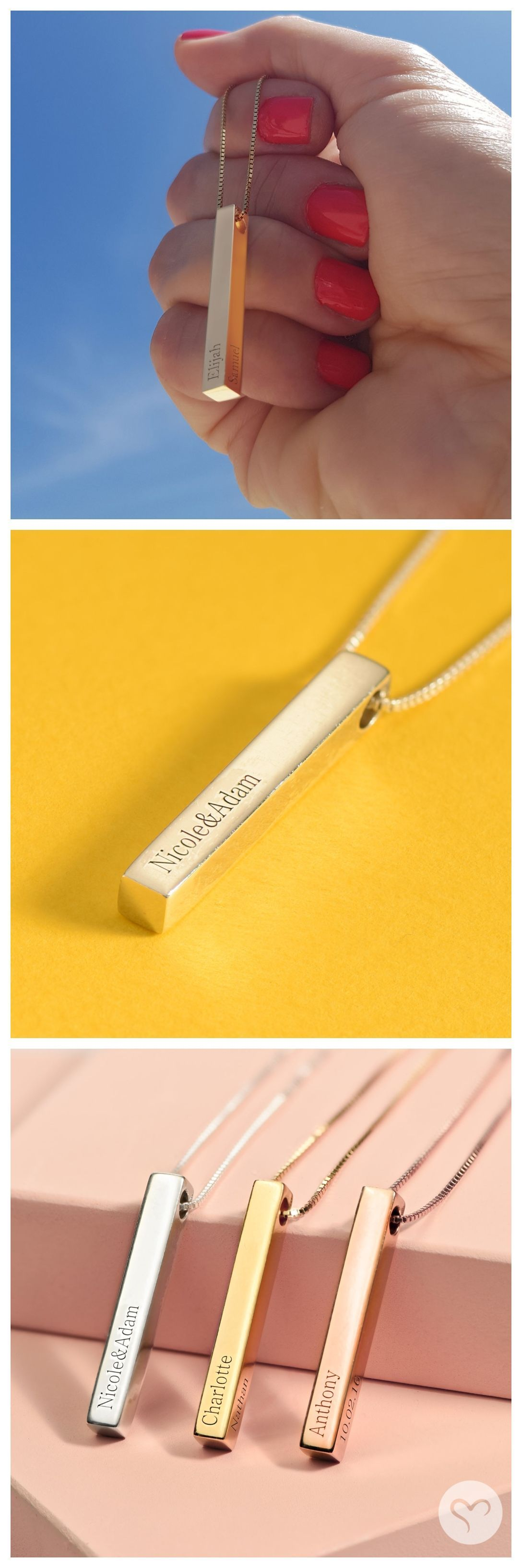 D engraved bar necklace in gold plating in hair colors rose