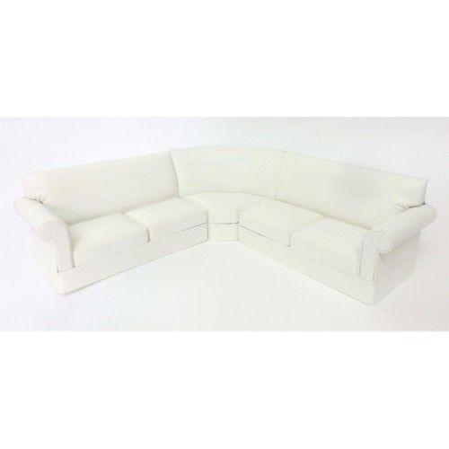 Dolls House Modern White Corner Sofa Miniature Living Room