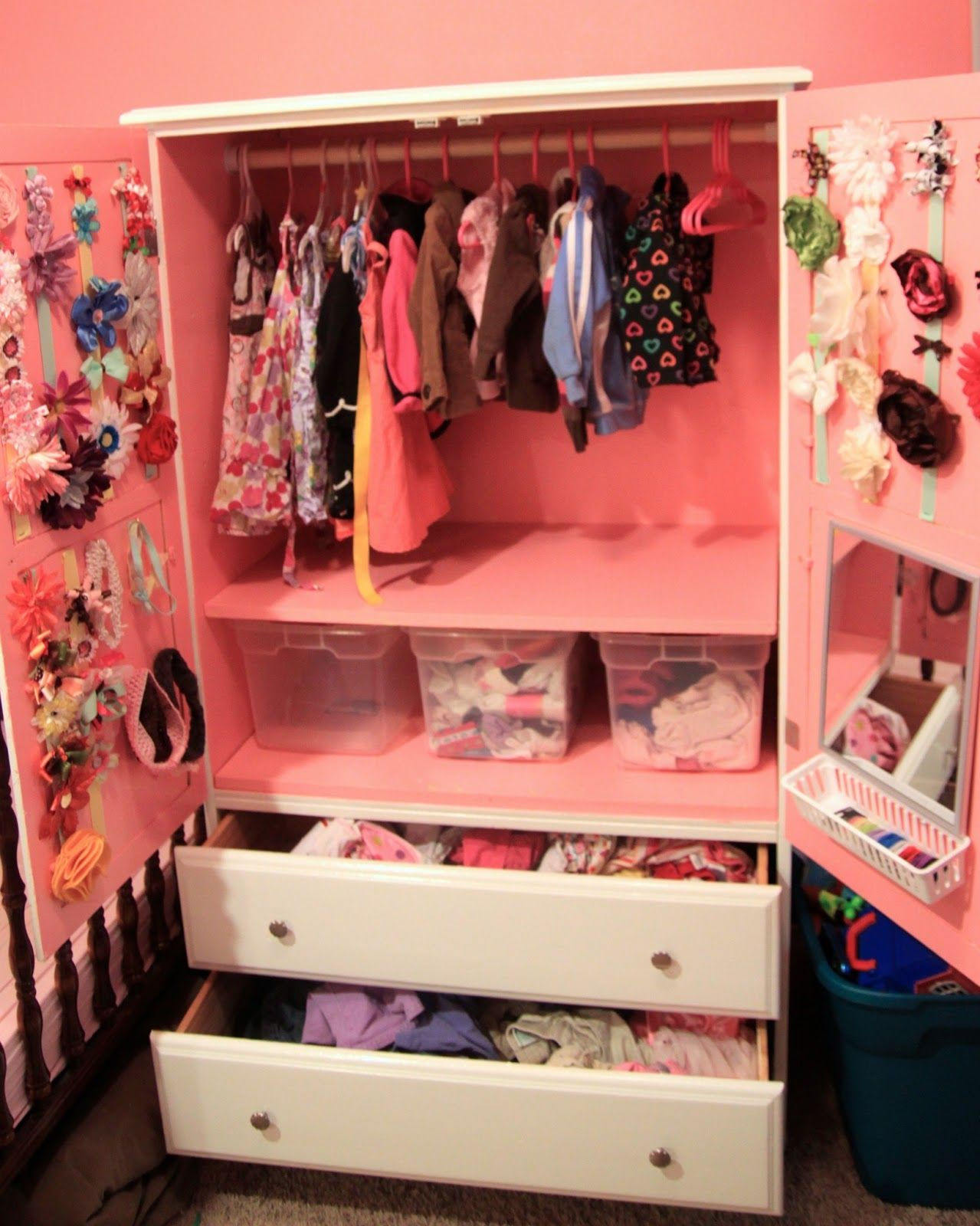 How To Organize A Small Closet With Lots Of Clothes Repurposed Tv Armoire To Kids Dresser Baby Girl