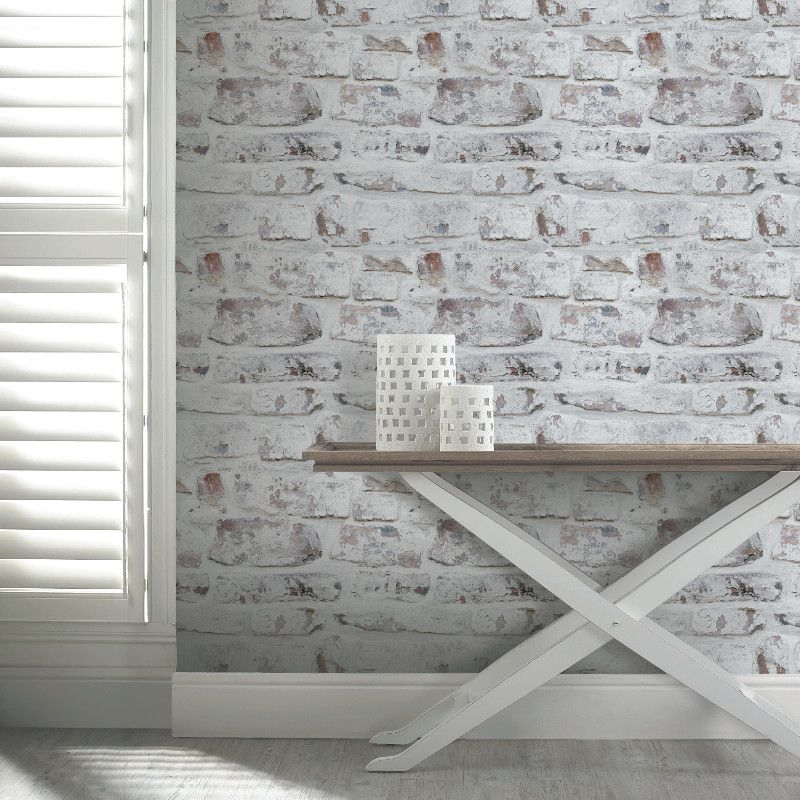 The Arthouse Opera White Washed Brick Wallpaper Is Perfect