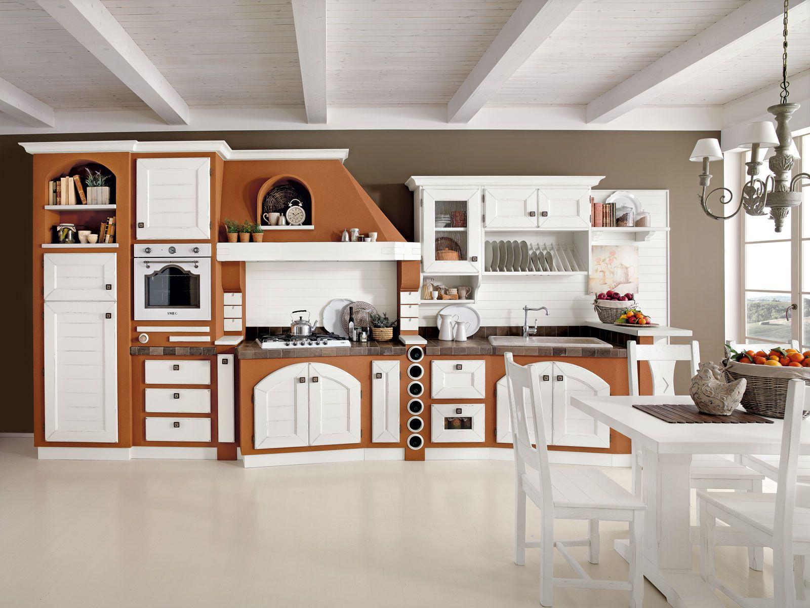 Cucine effetto muratura vera o finta bianco rustico bugna e rustico - Cucine in muratura lube ...