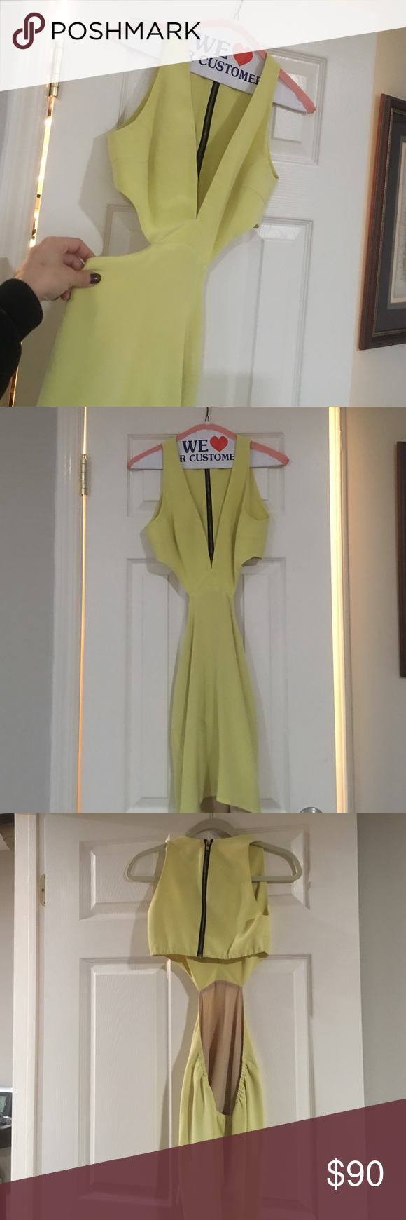 Naven cut out dress with low cut plunge front 100% silk exterior yellow naven dress with cut out sides and plunge front. Mid back open. Excellent condition! Naven Dresses Mini