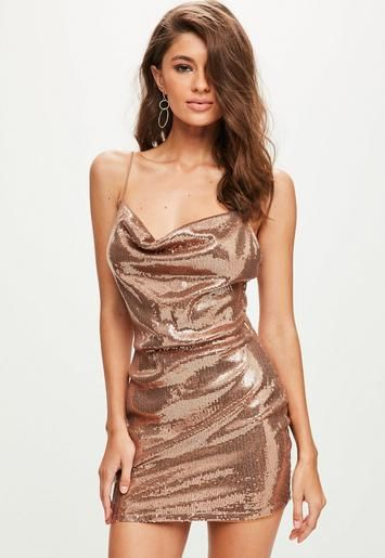 a56edcd95507 Gold Sequin Strappy Cowl Bodycon Dress | Missguided | dresses | Gold ...