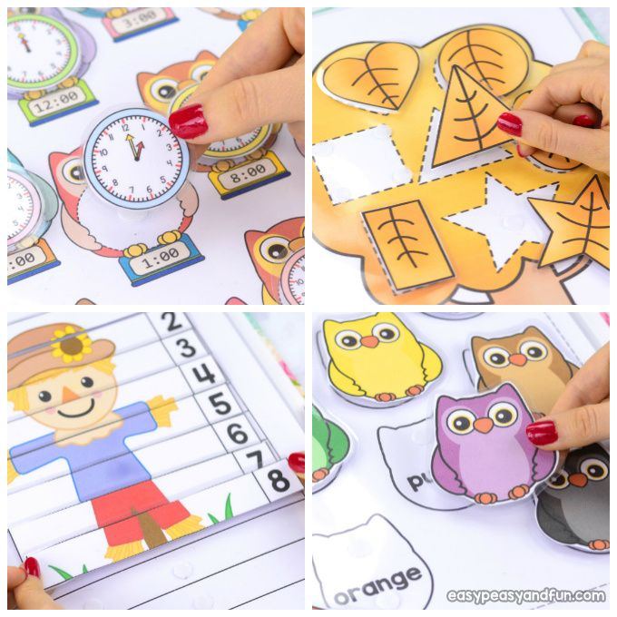 This printable fall quiet book is perfect for preschool and kids in kindergarten as it focuses on all the important basic skills - master the alphabet, colors, numbers, counting, telling time to the hour and shapes.