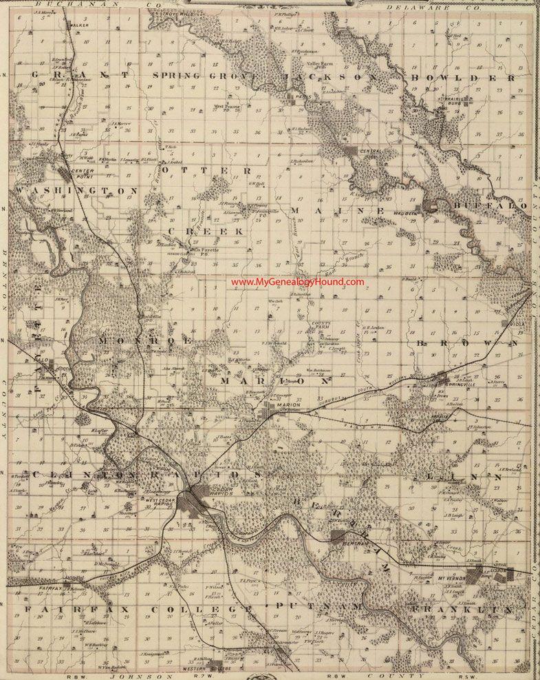 Iowa County Iowa Map.Linn County Iowa 1875 Map Cedar Rapids Bertram Marion Mt Vernon