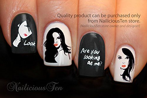 """Party Girl """"Look at me"""" Nail Wraps Art Water Transfer Decal 25pcs by NailiciousTen - ST8092 Nailicious Ten http://www.amazon.com/dp/B00HIFWT8Q/ref=cm_sw_r_pi_dp_BXa3ub1DQRQW7"""