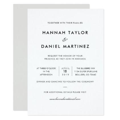 Simple Elegant Modern Custom Wedding Invitation Zazzle Com With