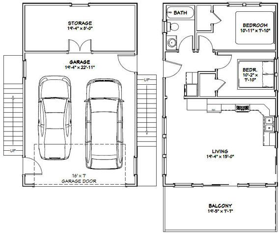 Garage Apartment Plans 2 Bedroom: 20x32 Homes 2-Bedroom 1-Bath 808 Sq Ft By