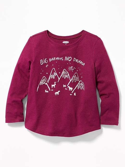1783e446164d Old Navy Toddler Girls' Graphic Long-Sleeve Tee Big Dreams, No Drama  Regular Size 12-18 M
