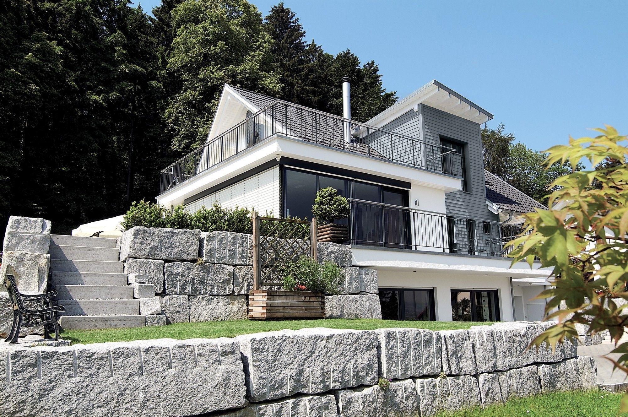 Hausdetailansicht villa pinterest g rten hausbau for Hausbau moderner baustil