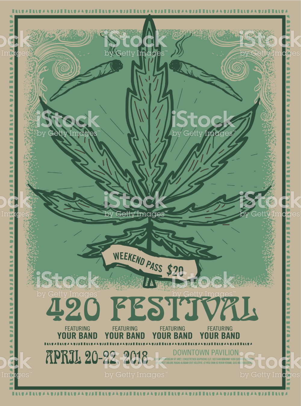 Happy 420 Festival Design Poster Template With Hand Drawn Pot Leaf Poster Template Poster Design Festival Design