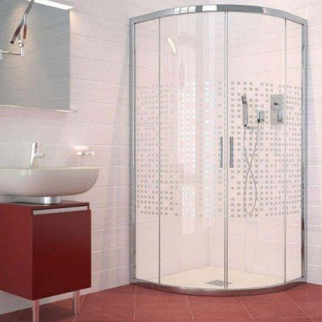 Mampara ducha vidrio semicircular 2F+2C modelo SAO PAULO ...