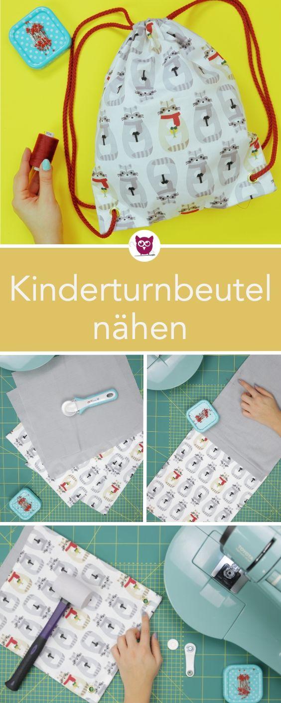 Turnbeutel für Kinder nähen – kostenlose Nähanleitung als Freebie. Sehr ein…