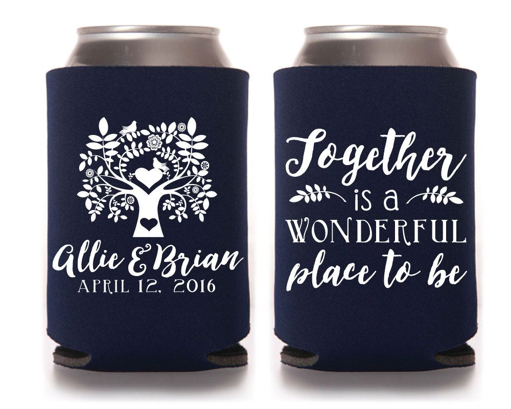 Personalized can cooler wedding favors wedding can for Beer koozie wedding favors