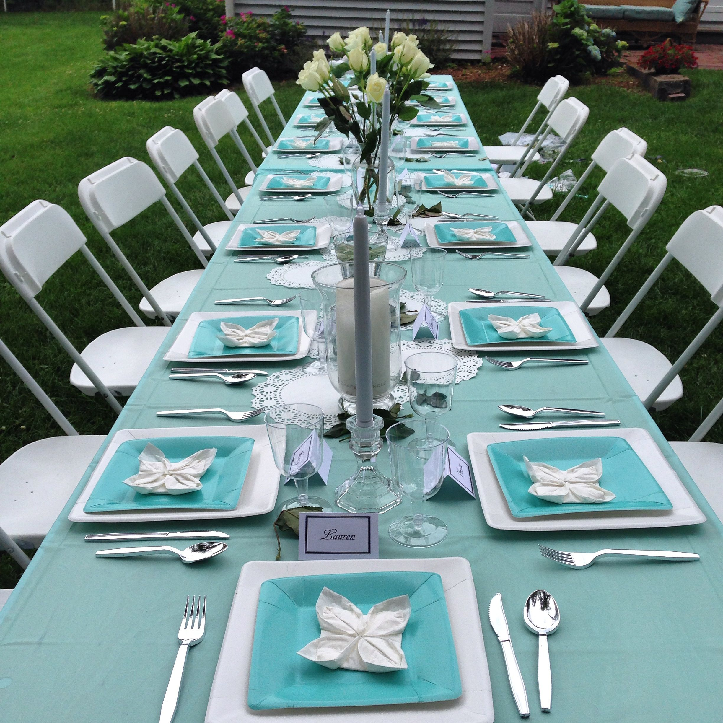 table setting from my \ Breakfast at Tiffany\u0027s\  inspired graduation party supplies/materials & table setting from my \