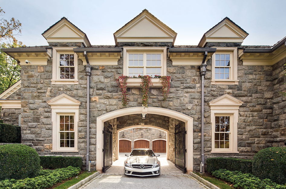 What a driveway should look like the stone mansion in for Homes with big garages for sale