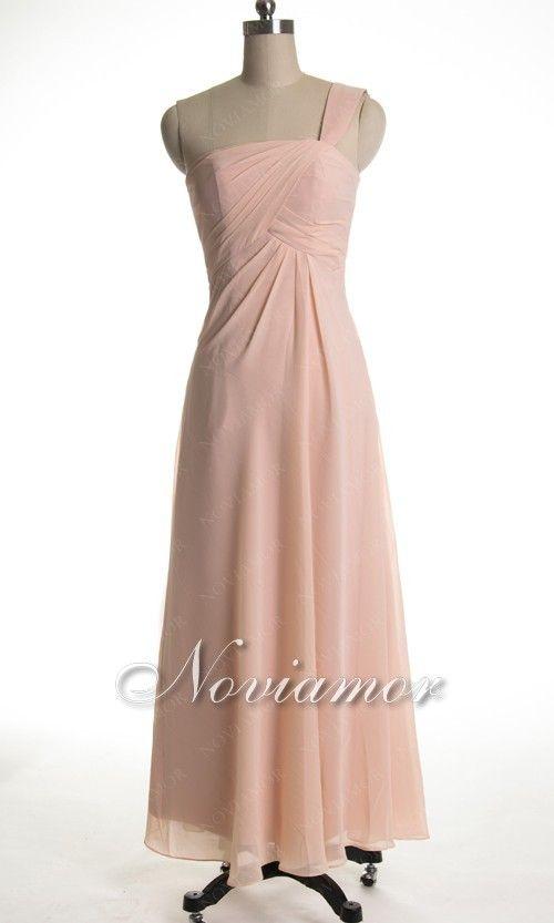 49ff1545305c one shoulder chiffon long bridesmaid dress in rose | Bridesmaid ...